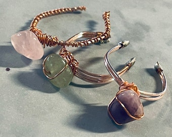 Wire Wrap Gemstone Rings - Custom - Amethyst, Rose Quartz, Light Green Aventurine - Authentic Crystal - Feminine, Delicate, Boho