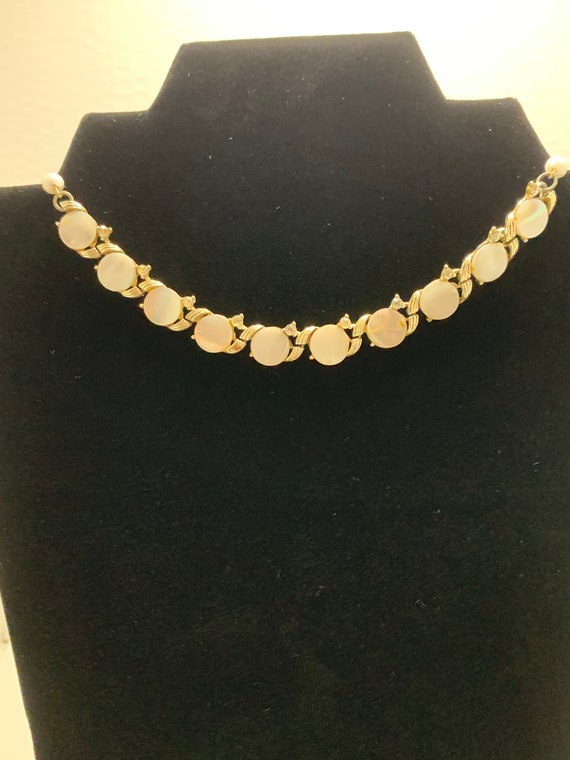 Vintage Coro Signed Mother of Pearl Link Necklace… - image 2