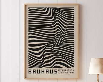 Bauhaus exhibition poster, Digital Download modern home decoration, contemporary designs, black art decor