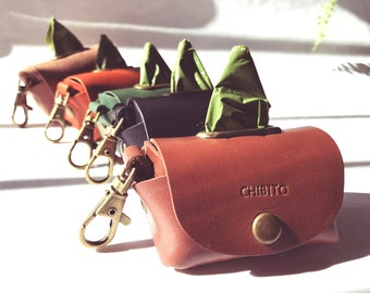 Personalized Leather Poo bag holders