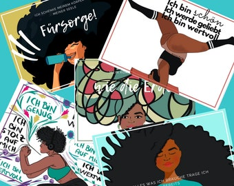 Set of 5 postcards with different affirmations