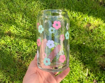 Flower Beer Can Iced Coffee Glass