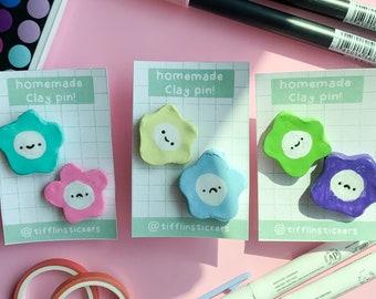 Homemade Flower Clay Pins   Cute Clay Pins   Pins   Flower Pins   Handmade Pins