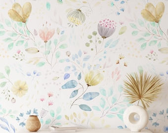 Large Spring Floral Wallpaper, Removable Peel and Stick Mural, Self Adhesive Eco Friendly Flower Design, Field Flowers Print, Wall Decal