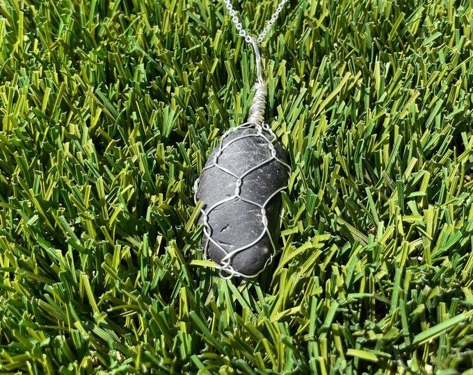Tumbled Black Obsidian, Black Obsidian Necklace, Black Obsidian Pendant Necklace, Wire Wrapped Black Obsidian Jewelry