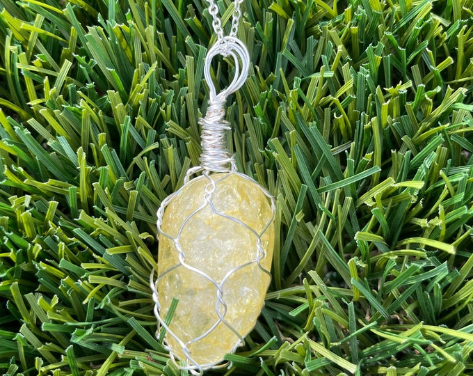 Dyed Yellow Quartz, Dyed Yellow Quartz Necklace, Dyed Yellow Quartz Pendant Necklace, Wire Wrapped Dyed Yellow Quartz l  Jewelry