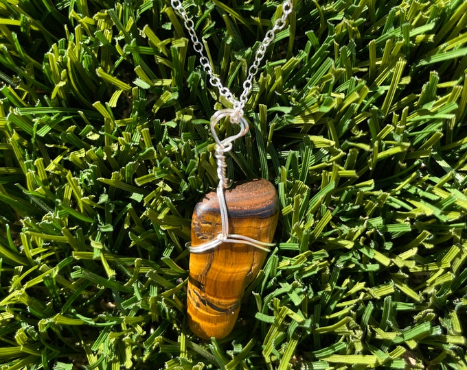 Tiger Eye, Tiger Eye Necklace, Tiger Eye Pendant Necklace, Wire Wrapped Tiger Eye Jewelry
