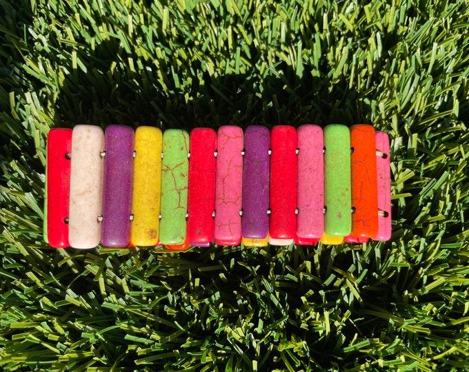 Magnesite colorful bracelet, women's bracelet, stone bracelet