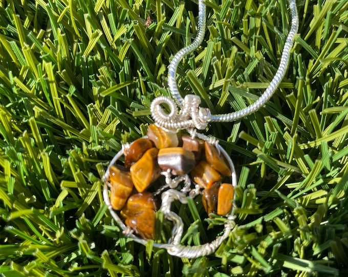 Tigers eye, Tigers eye tree of life Necklace, tree of life Pendant Necklace, Wire Wrapped Tigers eye tree of life Jewelry
