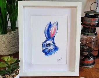 Blue Bunny Watercolour Illustration | A5 Fine Art Rabbit Print
