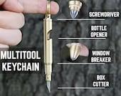 Keychain Multitool Bottle Opener Little Small Knife Pocket Screwdriver Solid Brass Window Glass Breaker, Box Cutter