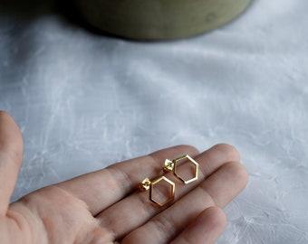 Gold Hexagon Minimalist Stud Earrings