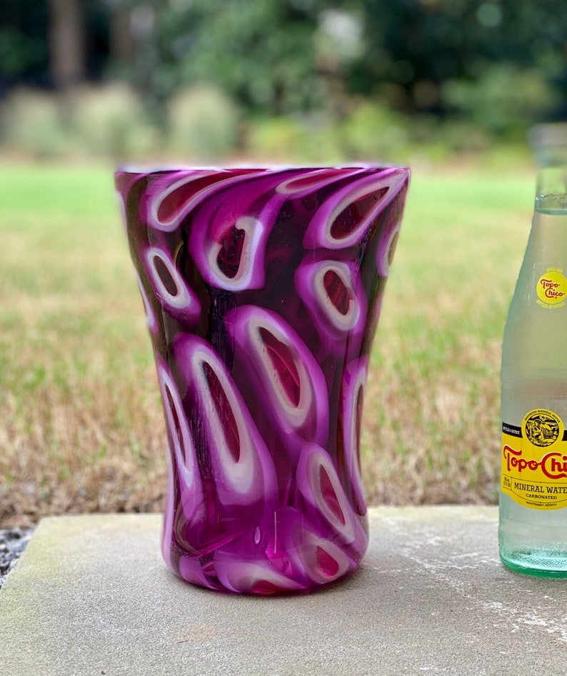 Hand blown glass vase in pinks and purples by Greg Fleischaker image 0