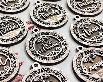 Wooden ornaments, laser cut ornaments, handcrafted Christmas ornaments, Holiday décor, Rustic holiday, personalized