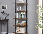 Industrial Ladder Shelf, 5-Tier Wood Wall-Mounted Bookcase with Stable Metal Frame, Display Plant Flower, Stand Bookshelf for Home Office