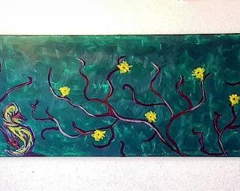 Blooming Tree w Bird as Seahorse