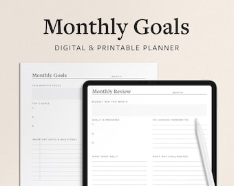 Monthly Goal Planner Printable PDF - Smart Goal Planning and Review Template - Minimal Digital Vertical Format for Print or iPad Goodntotes