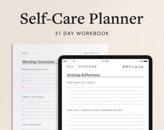 Self Care Planner and Wellness Journal - 31 Day Workbook with Daily Gratitude, Affirmations, Schedule, Goal-Setting, and Journaling Prompts