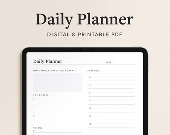 Daily Planner Template - 1 Page Digital Goodnotes and Printable PDF - Minimal Portrait Design with Goal Setting and Vertical Schedule