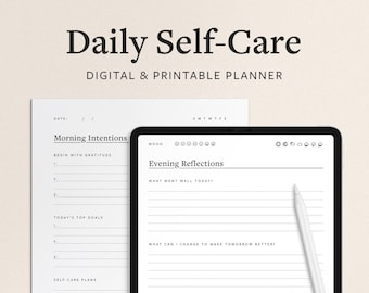 Daily Self Care Planner and Wellness Journal - 2 Page Format with Morning Gratitude + Evening Reflection - Digital Goodnotes / Printable PDF