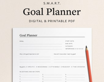 Goal Planner Printable - 1 Page Digital Smart Goal Planning Template - Minimal Vertical/Portrait PDF with Goal Setting and Action Steps