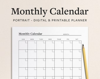 Monthly Calendar Template - 1 Page Digital and Printable PDF - Minimal Portrait / Vertical Undated Design with Notes Section