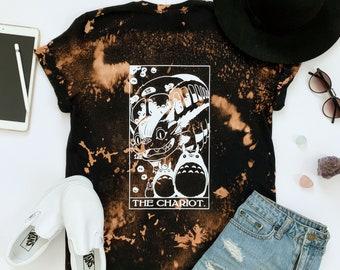 My Neighbor Totoro Tarot Shirt, Anime Totoro Shirt, The Chariot Tarot Shirt, Totoro Shirt, Catbus Shirt, Bleach Dyed Anime Shirt