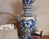 Samovar electric with lovely painting ceramic teapot gzhel samovar kitchen decor tea samovar vintage electric kettle porcelain teapot