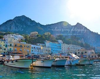 Marina Grande Capri: Italy Mediterranean Wall Art, Capri, Italy Photography, Travel Photo, Horizontal Print, Instant art, Instant Download