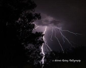 Lightning photography, digital print, fine art nature, wall art of large very close lightning bolt. Weather decor.