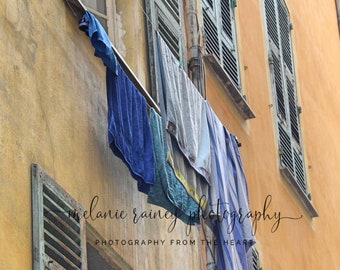 Laundry Day - Nice, France: Streets of Nice, France Photography, Digital Download, Wall Art, Vertical Print, Instant Art, Instant Download