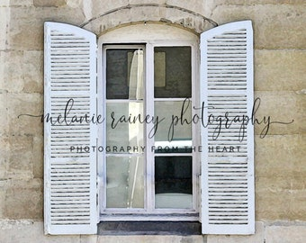 White Shutters - Paris France: Digital Download, Paris Wall Art, France Photography, Travel Photo, European Shutters, Instant Download