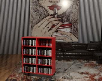 Portable Bookcase, Moving bookshelf, Digital Plans, library on wheels, wooden shelf , blueprint, interior design, home decor, custom  design