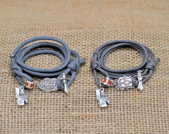Saint Joan of Arc Bracelet with Joan of Arc Silhouette Medal Two Adjustable Sizing Knots and Quote