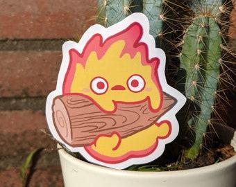 Calcifer fire sticker studio ghibli cute & kawaii Glitter and matte