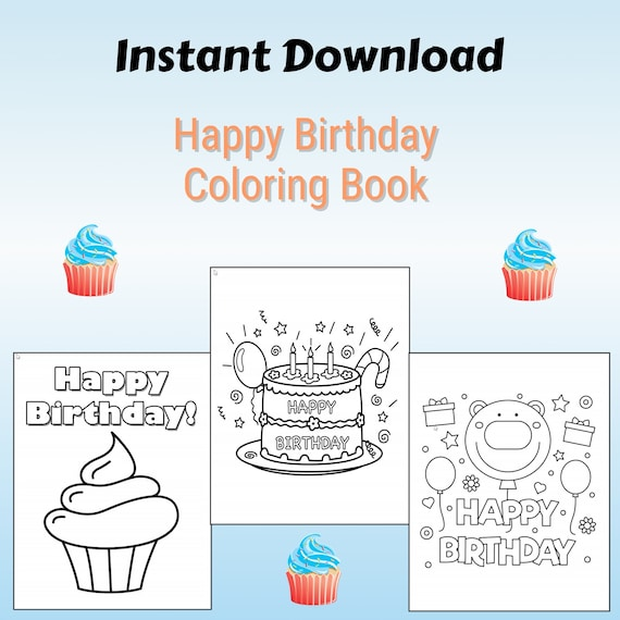 40 Printable Happy Birthday Coloring Pages INSTANT DOWNLOAD