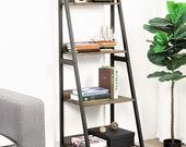Bookshelf 5 Tier Ladder Shelf Bookcase, Plant Stand, Wooden Bookcase