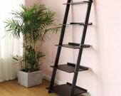 Black Bookshelf 5 Tier Ladder Shelf Bookcase, Plant Stand, Wooden Bookcase