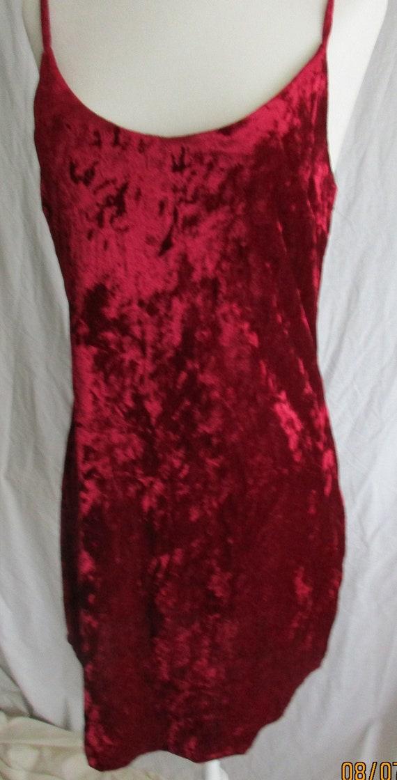 Deep red faux velvet dress