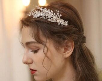 Handmade Bridal Hair Crown, Wedding Silver Color Hair Crown, Silver Leaf Headband, Bride to be Tiara, Bridal Crown, Wedding Hair Accessories
