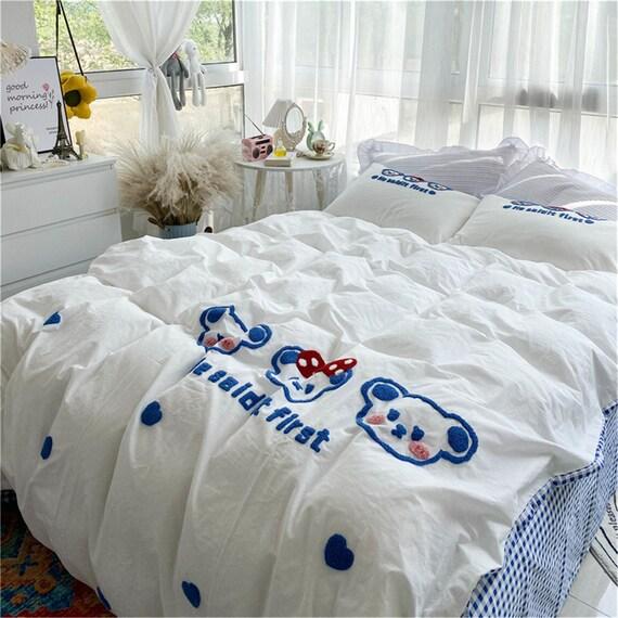 Super Cute White&Blue Cotton Duvet Cover Set Floral Bedding set Duvet Cover Queen Duvet Cover Full High Quality Handmade Duver Cover set