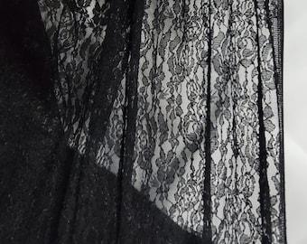 "Black Stretch Lace Fabric 60"" wide"