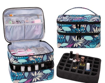 Portable Nail Polish Carrying Case, Holds 30 Bottles, Double Layer Design Nail Polish Holder