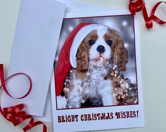 Cavalier King Charles Spaniel Christmas Cards with envelopes blank inside—Set of 5 (4.25 x 5.50), Dog Cards