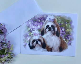 Water Color Shih Tzu Note Cards with envelopes blank inside—Set of 5 (4.25 x 5.50), Greeting Cards for any occasion