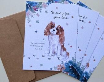 Sympathy Card. Set of 4. Cavalier King Charles Sympathy Cards. Blank Sympathy Greeting Card Set.