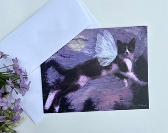 Water Color Cat Note Cards with envelopes blank inside—Set of 5 (4.25 x 5.50)