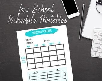 Law School Schedule Printables - Law school organization, law school, Law student