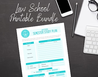 Law Student Printable Bundle - everything included! - Law school study pages, case brief templates, law school exams