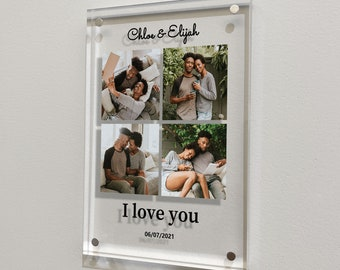 Personalized glass art photo collage gifts, Engagement gifts, Wedding gifts for couple, 1 year anniversary gift for boyfriend and girlfriend